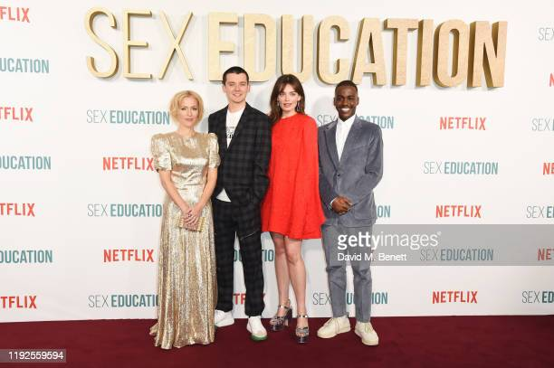 "Gillian Anderson, Asa Butterfield, Emma Mackey and Ncuti Gatwa attend the World Premiere of Netflix's ""Sex Education"" Season 2 at The Genesis Cinema..."