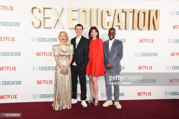 Gillian Anderson Asa Butterfield Emma Mackey and Ncuti Gatwa attend the World Premiere of Netflix's Sex Education Season 2 at The Genesis Cinema on...