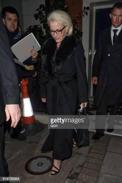 Gillian Anderson attending pre Bafta dinner at Marks club Mayfair on February 17 2018 in London England