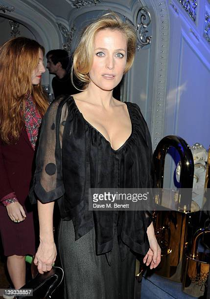 Gillian Anderson attends a dinner following the Mulberry Autumn/Winter 2012 show during London Fashion Week at The Savile Club on February 19 2012 in...