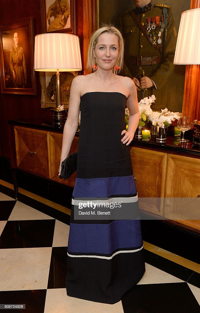 Gillian Anderson attends a dinner in honour of Justine Picardie to celebrate the book 'Dior by Avedon' at the Beaumont Hotel on January 19, 2016 in London, England.