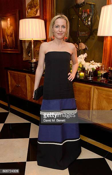 Gillian Anderson attends a dinner in honour of Justine Picardie to celebrate the book 'Dior by Avedon' at the Beaumont Hotel on January 19 2016 in...