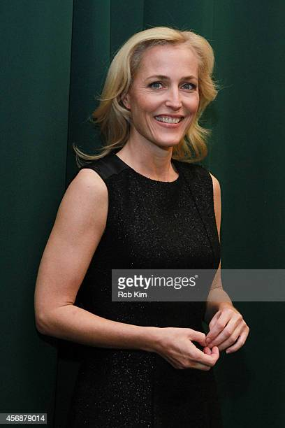 Gillian Anderson attends Gillian Anderson In Conversation With Jeff Rovin to promote new book 'A Vision of Fire' at Barnes Noble Tribeca on October 8...