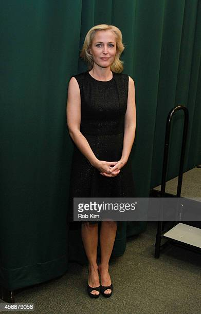 Gillian Anderson attends Gillian Anderson In Conversation With Jeff Rovin to promote new book A Vision of Fire at Barnes Noble Tribeca on October 8...