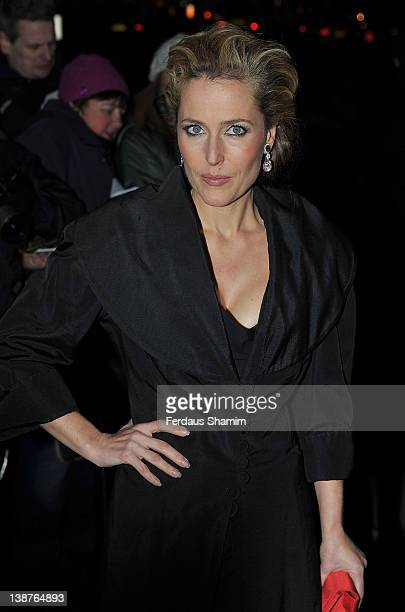 Gillian Anderson attends preBAFTA dinner hosted by Charles Finch and Chanel at Annabels on February 11 2012 in London England
