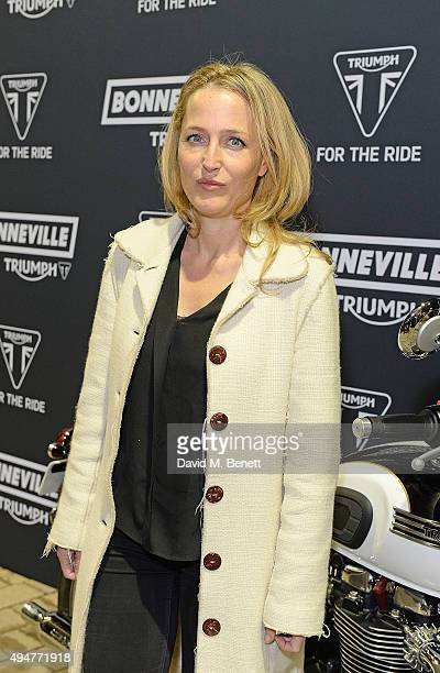 Gillian Anderson attends the Global Triumph Bonneville launch on October 28 2015 in London England