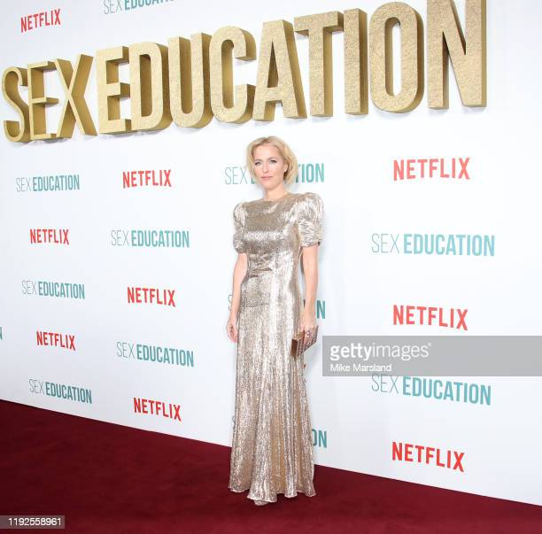 "Gillian Anderson attends the ""Sex Education"" Season 2 World Premiere at Genesis Cinema on January 8, 2020 in London, England."