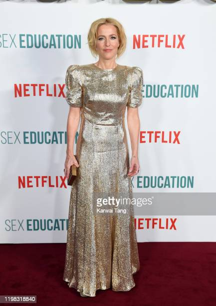 "Gillian Anderson attends the ""Sex Education"" Season 2 World Premiere at Genesis Cinema on January 08, 2020 in London, England."