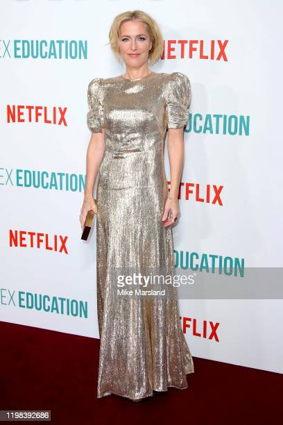 Gillian Anderson attends the Sex Education Season 2 World Premiere at Genesis Cinema on January 08 2020 in London England