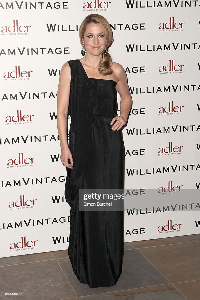 Gillian Anderson attends the WilliamVintage Dinner Sponsored By Adler at St Pancras Renaissance Hotel on February 8, 2013 in London, England.