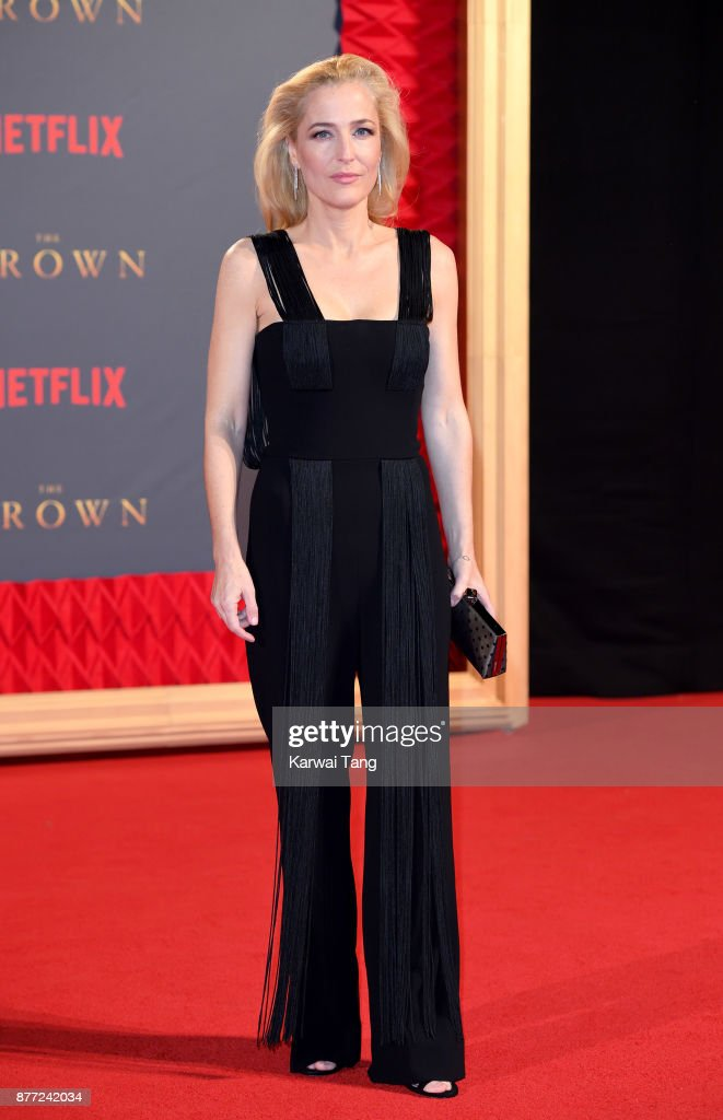 Gillian Anderson attends the World Premiere of Netflix's 'The Crown' Season 2 at Odeon Leicester Square on November 21, 2017 in London, England.