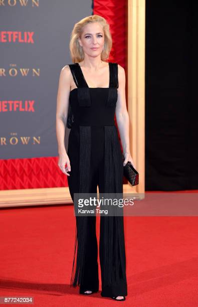 Gillian Anderson attends the World Premiere of Netflix's The Crown Season 2 at Odeon Leicester Square on November 21 2017 in London England