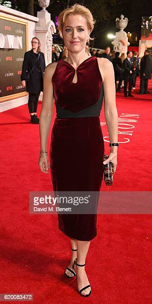 Gillian Anderson attends the World Premiere of new Netflix Original series 'The Crown' at Odeon Leicester Square on November 1 2016 in London England