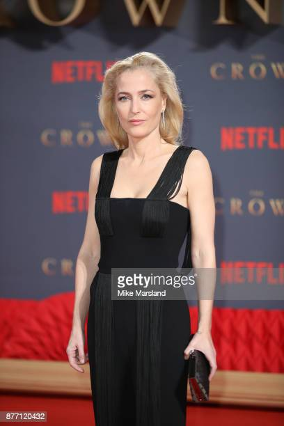 Gillian Anderson attends the World Premiere of season 2 of Netflix The Crown at Odeon Leicester Square on November 21 2017 in London England