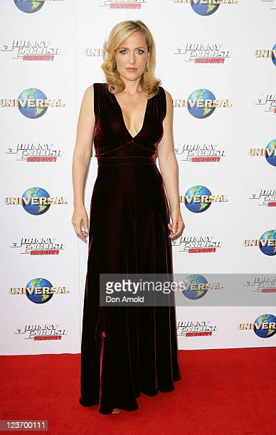 """Gillian Anderson attends the world premiere of the movie """"Johnny English Reborn"""" at Fox Studios on September 4, 2011 in Sydney, Australia."""