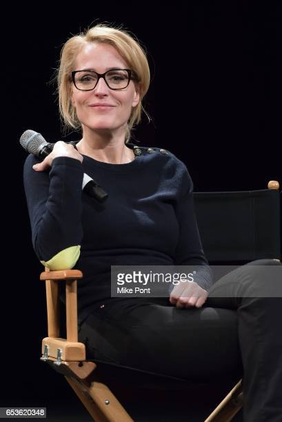 Gillian Anderson attends Tribeca Talks in support of UN Women's HeforShe at SVA Theatre on March 15 2017 in New York City