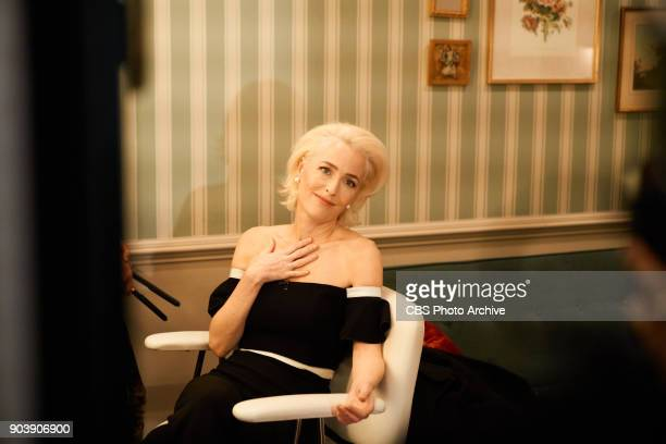 Gillian Anderson checks in from the green room with James Corden during The Late Late Show with James Corden Tuesday January 9 2018 On The CBS...