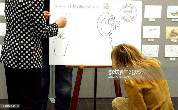 Gillian Anderson during National Doodle Day for The Neurofibromatosis Association and Epilepsy Action Press Launch at The Jerwood Space in London...
