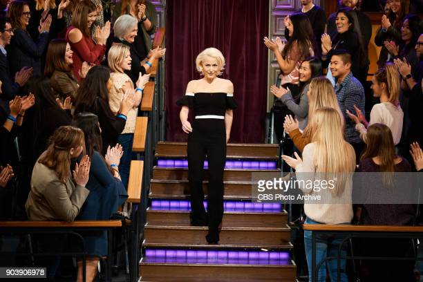 Gillian Anderson greets the audience during The Late Late Show with James Corden Tuesday January 9 2018 On The CBS Television Network