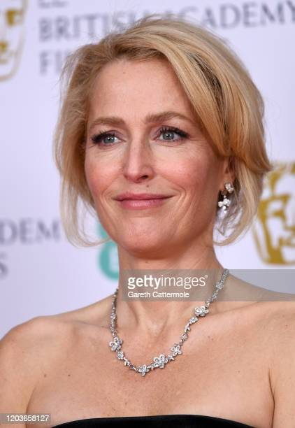 Gillian Anderson in the Winners Room during the EE British Academy Film Awards 2020 at Royal Albert Hall on February 02 2020 in London England