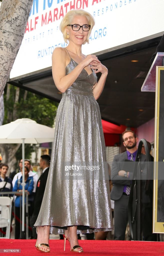 Gillian Anderson is honored with a star on The Hollywood Walk of Fame on on January 8, 2018 in Los Angeles, California.