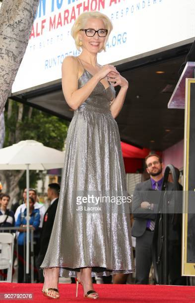 Gillian Anderson is honored with a star on The Hollywood Walk of Fame on on January 8 2018 in Los Angeles California
