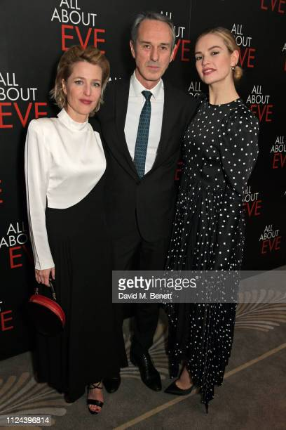 Gillian Anderson Ivo van Hove and Lily James attend the press night after party for 'All About Eve' at The Waldorf Hilton on February 12 2019 in...