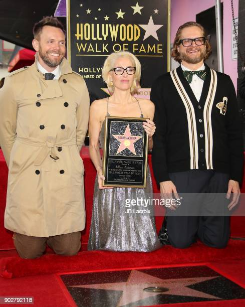 Gillian Anderson Joel McHale and Bryan Fuller attend a ceremony honoring Gillian Anderson with a star on The Hollywood Walk of Fame on on January 8...
