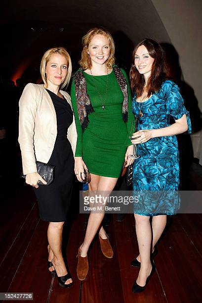 Gillian Anderson Lily Cole and Sophie EllisBextor attend the World Chess Championship at Somerset House on September 20 2012 in London England