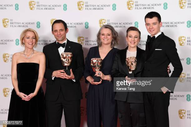 Gillian Anderson Mark Jenkin Linn Waite and Kate Byers winners of Outstanding Debut By A British Writer Director or Producer for Bait and Asa...