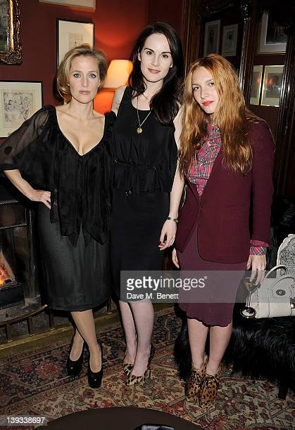 Gillian Anderson Michelle Dockery and Josephine de la Baume attend a dinner following the Mulberry Autumn/Winter 2012 show during London Fashion Week...