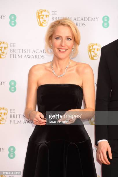 Gillian Anderson poses in the Winners Room during the EE British Academy Film Awards 2020 at Royal Albert Hall on February 02, 2020 in London,...