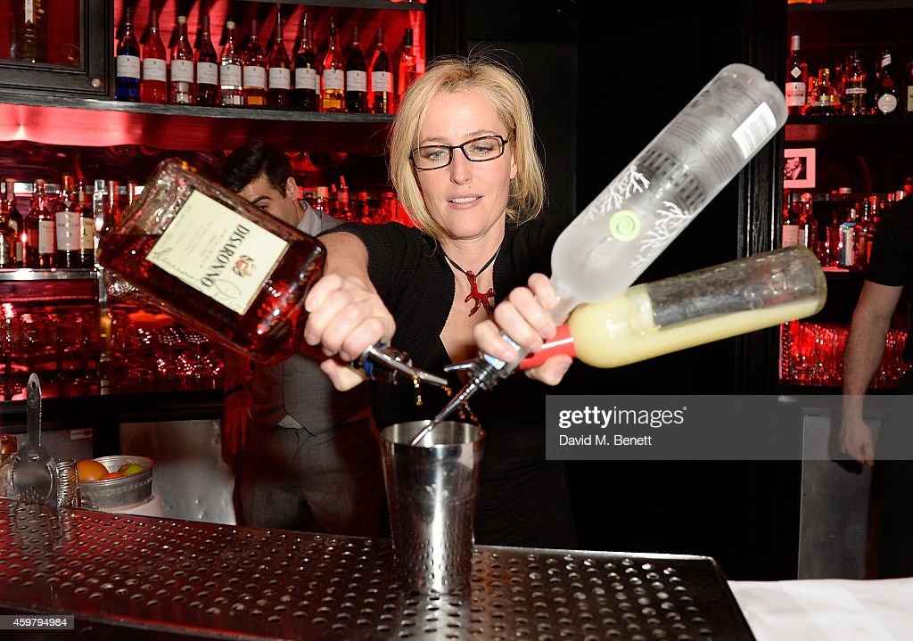 Gillian Anderson serves cocktails at the W London - Leicester Square & (RED) World AIDS Day Fundraising Party at Wyld on December 1, 2014 in London, England.