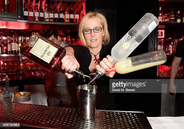 Gillian Anderson serves cocktails at the W London Leicester Square World AIDS Day Fundraising Party at Wyld on December 1 2014 in London England