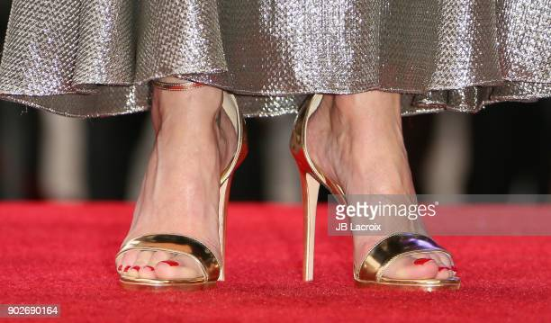 Gillian Anderson shoe details is honored with a star on The Hollywood Walk of Fame on on January 8 2018 in Los Angeles California