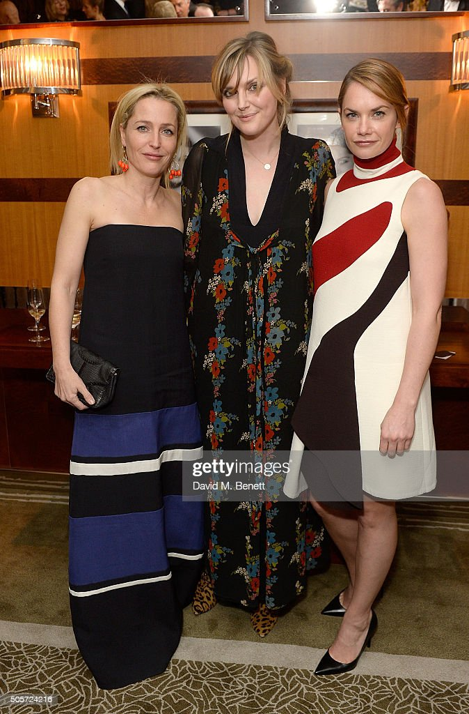 Gillian Anderson, Sophie Dahl and Ruth Wilson attend a dinner in honour of Justine Picardie to celebrate the book 'Dior by Avedon' at the Beaumont Hotel on January 19, 2016 in London, England.