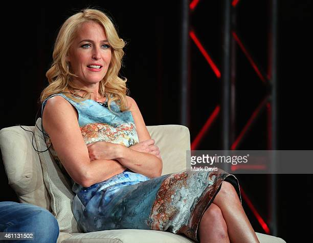 Gillian Anderson speaks onstage about The Fall during the Netflix TCA Press Tour at Langham Hotel on January 7 2015 in Pasadena California