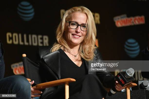 Gillian Anderson speaks onstage at The XFiles panel during 2017 New York Comic Con Day 4 on October 8 2017 in New York City