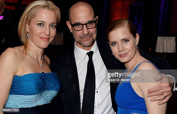 Gillian Anderson Stanley Tucci and Amy Adams attend the Weinstein Co Entertainment and Pathe postBAFTA party hosted by Bulgari and Grey Goose at...