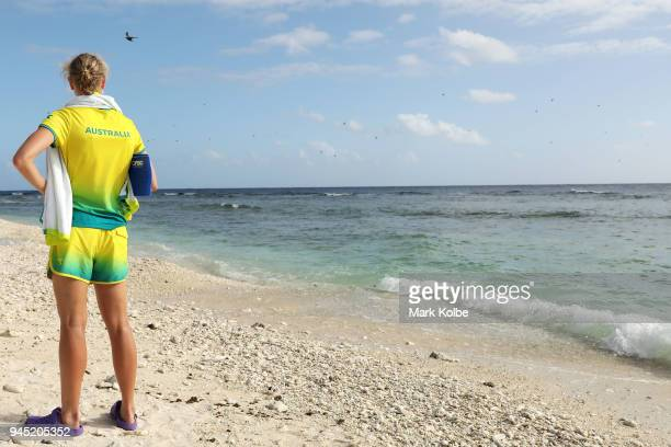 Gillian Backhouse of Australia looks out from the beach during an athlete Great Barrier Reef experience on day eight of the Gold Coast 2018...