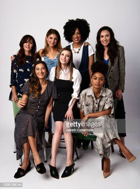 Gillian Barnes AM Lukas Janine Sherman Barrois Ivy Agregan Jessica Sanders Gillian Jacobs and Yara Shahidi from the series 'Shatterbox' pose for a...