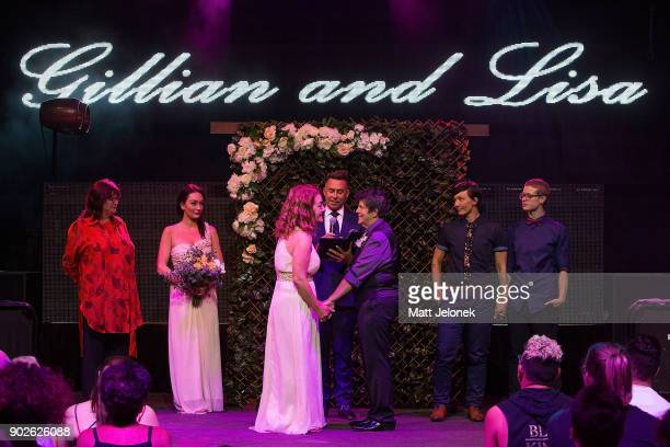 Gillian Brady and Lisa Goldsmith hold one of the first samesex marriage ceremonies in Western Australia at The Court on January 9 2018 in Perth...