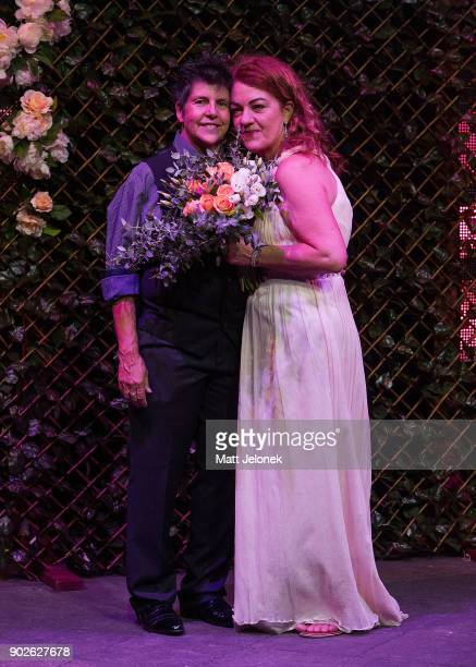 Gillian Brady and Lisa Goldsmith pose after the wedding ceremony at The Court on January 9 2018 in Perth Australia Couples across Australia wed in...