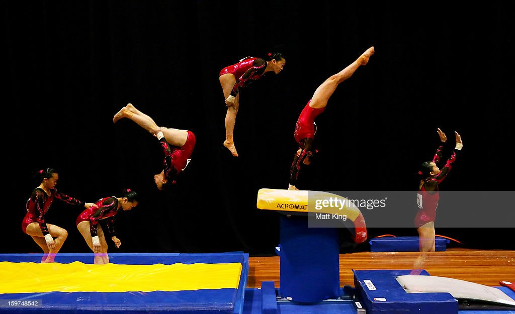 Gillian Chan of China competes in the Vault during the Women's All Around and Aparatus Final during day five of the Australian Youth Olympic Festival at Sydney Olympic Park Sports Centre on January 20, 2013 in Sydney, Australia.