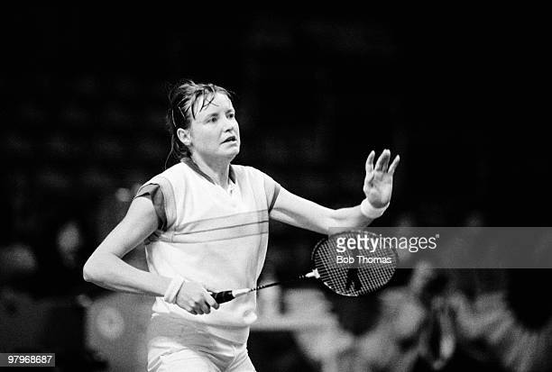 Gillian Gilks of England during the All England Badminton Championships held at Wembley Arena during April 1985