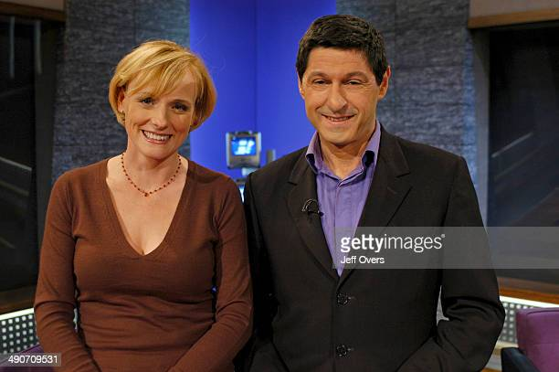 Gillian Hargreaves Politics Show Reporter with Jon Sopel Politics Show Presenter on the set of the BBC current affairs programme The Politics Show...