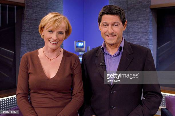 Gillian Hargreaves with Jon Sopel on the set of the BBC current affairs programme The Politics Show The show is transmitted Sunday lunchtime