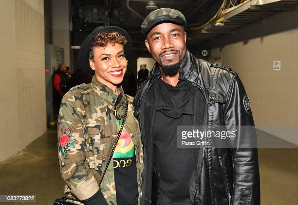 Gillian Iliana Waters and actor Michael Jai White backstage during 2018 V-103 Winterfest at State Farm Arena on December 15, 2018 in Atlanta, Georgia.