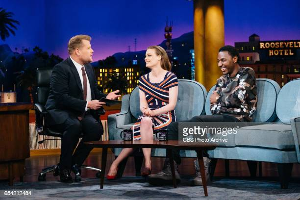 Gillian Jacobs and Jerrod Carmichael chat with James Corden during 'The Late Late Show with James Corden' Tuesday March 14 2017 On The CBS Television...