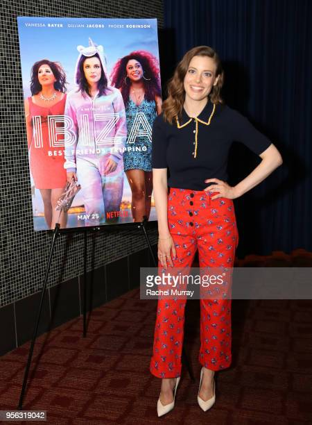 Gillian Jacobs attend the Los Angeles preview screening of Netflix's film IBIZA at the Arclight Hollywood on May 8 2018 in Los Angeles California